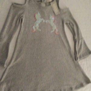 51abd0e7aec03 Btween Dresses   Girls Off Shoulder Unicorn Dress   Poshmark